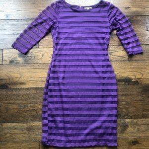 Gianni Bini Long Sleeve Grape Purple Stripe Dress